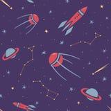 Nahtloses Raummuster für Kinder mit Sternen, Rakete, Konstellation, Satelliten, Kometen und Planeten in der Karikaturart stockbilder