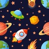 Nahtloses Raummuster mit Planeten, UFO, Raketen und Sterne Lizenzfreie Stockbilder