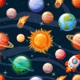 Nahtloses Raummuster mit Sun, Mercury, Venus, Erde, Mars, Jupiter, Saturn, Uranus, Neptun, Pluto, Raumschiff, Asteroiden und sta Stockfotografie