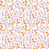 Nahtloses Retro- dekoratives Blumenmuster Nette Blumen, Blätter und Retro- Schmetterlinge Aquarell Stockfotografie