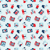 Nahtloses Retro- flaches Kommunikationsmuster Lizenzfreie Stockbilder