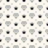 Nahtloses Retro- Muster des Vektors, mit Diamanten. Stockbild