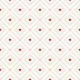 Nahtloses Retro- Muster des Vektors mit Herzen Stockbild