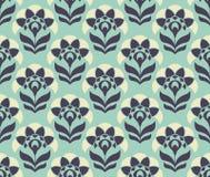 Nahtloses Retro- Muster mit abstrakten Blumen Lizenzfreie Abbildung