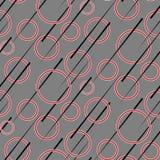 Nahtloses Retro- Muster mit roten Ringen lizenzfreie abbildung