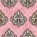 Nahtloses Rococo Blumen im Rosa Stockfotos