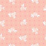 Nahtloses rosa Blumenmuster, Rosen und Kreise, Weinleseillustration Lizenzfreies Stockbild