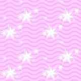 Nahtloses, rosa Muster mit Linien und Blumen Lizenzfreie Stockfotografie