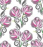 Nahtloses Rosarosen-Blumenmuster Stockfotos