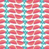 Nahtloses rotes blaues Blatt blüht Gewebemuster Stockfotografie
