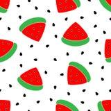 Nahtloses rotes Wassermelonenmuster Vektorhintergrund-Wassermelonenscheiben mit Wassermelonensamen stock abbildung