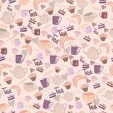 Nahtloses süßes Muster mit Tee u. Kaffee Stockfotos