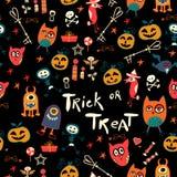 Nahtloses Süßes sonst gibt's Saures Muster Halloweens Lizenzfreie Stockfotografie
