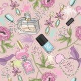 Nahtloses Schönheitsmuster mit bilden, parfümieren, Nagellack Stockbild