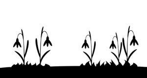 Nahtloses Schattenbildgras und -blumen Lizenzfreie Stockbilder