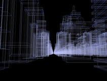 Nahtloses Schleifenzusammenfassungshologramm 3D Stadtkonzept-Wiedergabe mit futuristischer weißer und blauer Matrix übertragen Di stock video footage