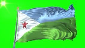 Nahtloses Schleifungsvideo der Wiedergabe 3D Dschibuti-Flagge Schönes Textilstoffgewebe-Schleifenwellenartig bewegen stock abbildung
