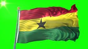 Nahtloses Schleifungsvideo der Wiedergabe 3D Ghana-Flagge Schönes Textilstoffgewebe-Schleifenwellenartig bewegen stock abbildung