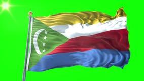 Nahtloses Schleifungsvideo der Wiedergabe 3D Komoren-Flagge Schönes Textilstoffgewebe-Schleifenwellenartig bewegen stock abbildung