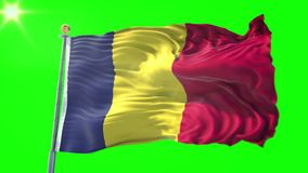 Nahtloses Schleifungsvideo der Wiedergabe 3D Tschad-Flagge Schönes Textilstoffgewebe-Schleifenwellenartig bewegen lizenzfreie abbildung