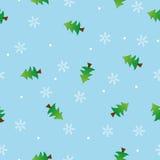 Nahtloses Schneeflocke- und Baummusterblau backgroun Stockfoto
