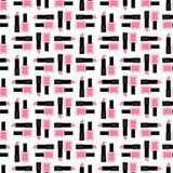 Nahtloses Schönheitsmuster Nette Modeillustration mit rosa Lippenstift und Nagellack Lizenzfreies Stockbild