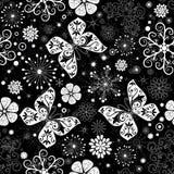 Nahtloses schwarz-weißes Weihnachtsgraphikmuster Stockfoto