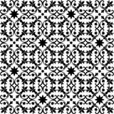 Nahtloses schwarzes Muster auf weißem Hintergrund Stockfotografie