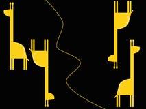 Nahtloses schwarzes Muster des Vektors mit Giraffe Lizenzfreie Stockfotos
