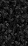 Nahtloses schwarzes Muster mit weißen Blumen Stockfotos