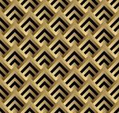 Nahtloses Schwarzes und Goldquadratisches Art- DecoMuster lizenzfreie abbildung