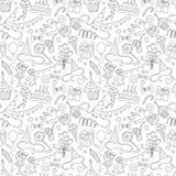 Nahtloses Schwarzweiss-Muster des glücklichen Geburtstagsfeiergekritzels Lizenzfreies Stockfoto