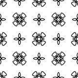 Nahtloses Schwarzweiss-Muster mit abstrakten Elementen Stockfotografie