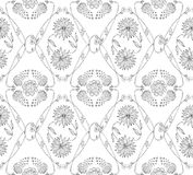 Nahtloses Schwarzweiss-Muster mit Blumen Hand gezeichneter Blumenhintergrund Stockfotografie