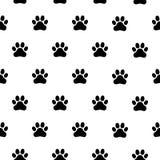 Nahtloses Schwarzweiss-Muster mit Pfotenabdrücken Abstrakter Hintergrund, Tierabdruck stock abbildung