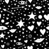 Nahtloses Schwarzweiss-Muster mit Sternen, Herzen, Lippen, Pfeile, Augen Bunt und festlich vektor abbildung