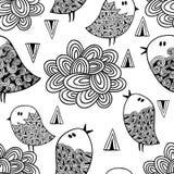 Nahtloses Schwarzweiss-Muster mit Vögeln und Wolken Lizenzfreies Stockfoto