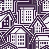 Nahtloses Schwarzweiss-Stadt-Muster in der flachen Art Stockfoto