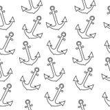 Nahtloses Seeseemannmuster mit Anker Abstrakter Wiederholungshintergrund, Karikaturillustration kann als Textildrucken benutzt we stock abbildung
