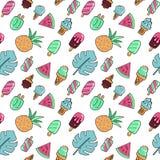 Nahtloses Sommerferien-Ikonenmuster mit Eiscreme, Wassermelone, Ananas und Palmblättern Vektorhandgezogener Farbentwurf lizenzfreie abbildung