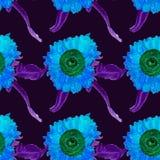 Nahtloses Sommermuster der Aquarellsonnenblume, eigenhändig gemalt, Vektorbild Lizenzfreies Stockbild