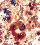 Nahtloses Sommermuster mit Aquarellblumen Lizenzfreie Stockbilder