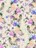 Nahtloses Sommermuster mit Aquarellblumen Stockbild