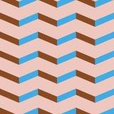 Nahtloses Sparrenvektormuster Bunter Blau- und Ziegelsteinrotzickzack auf blassem - rosa Hintergrund Lizenzfreies Stockfoto