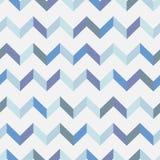 Nahtloses Sparrenvektormuster Bunter Zickzack in den blauen Farben auf weißem Hintergrund Stockbilder