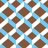 Nahtloses Sparrenverzierungsmuster Bunte weiße und hellblaue Verzierung auf braunem Hintergrund Stockfotografie