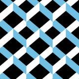 Nahtloses Sparrenverzierungsmuster Weiße und hellblaue Formen auf schwarzem Hintergrund Stockfotografie