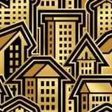 Nahtloses Stadt-Muster in der goldenen Art stockfotografie
