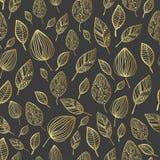Nahtloses stilisiert Blatmuster Beschaffenheit mit Blättern Lizenzfreies Stockbild