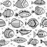 Nahtloses stilisiertes Fischmuster des Vektors Stockbilder